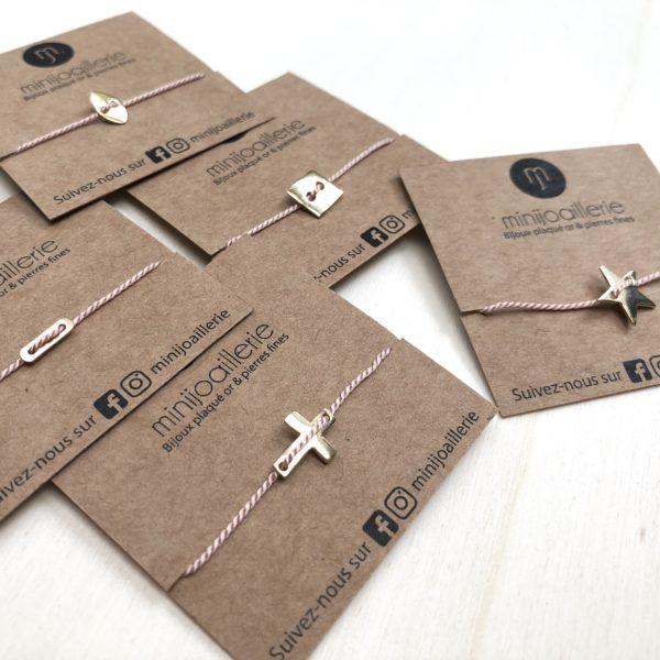 bracelet fil de soie et pendentif plaqué or