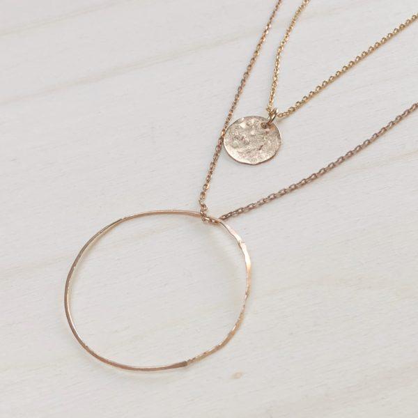 collier cercle et médaille plaqué or