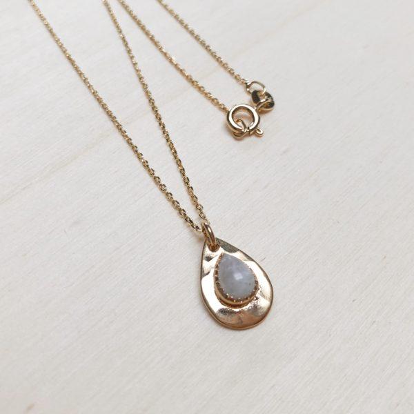 collier pierre de lune plaque or